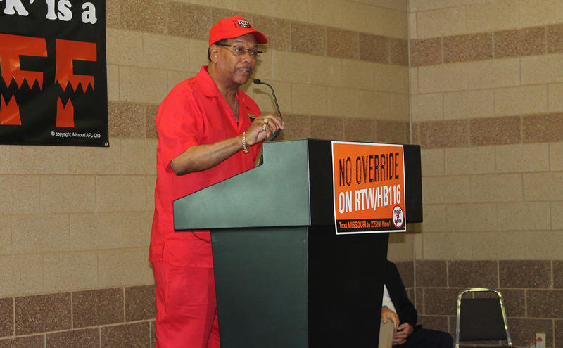 Claude Cummings of the Communications Workers of America was one of three national union leaders to speak at the rally in Arnold, Mo. on Sat. Sept 12, 2015. He numerated a list of worker rights won through organizing, including the eight-hour work day.