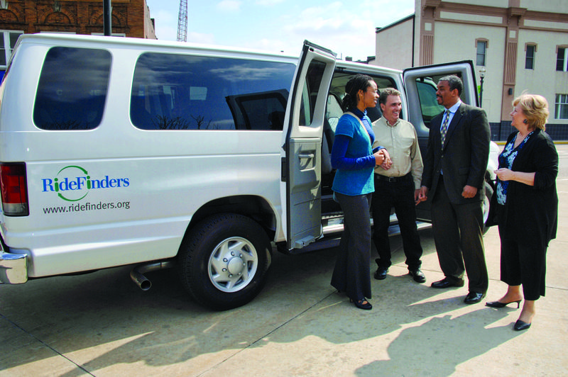 One of RideFinders' 15-passenger vans