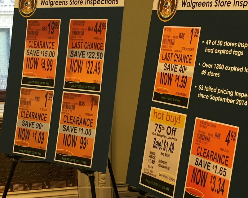 Examples of expired price tags for items listen on sale.