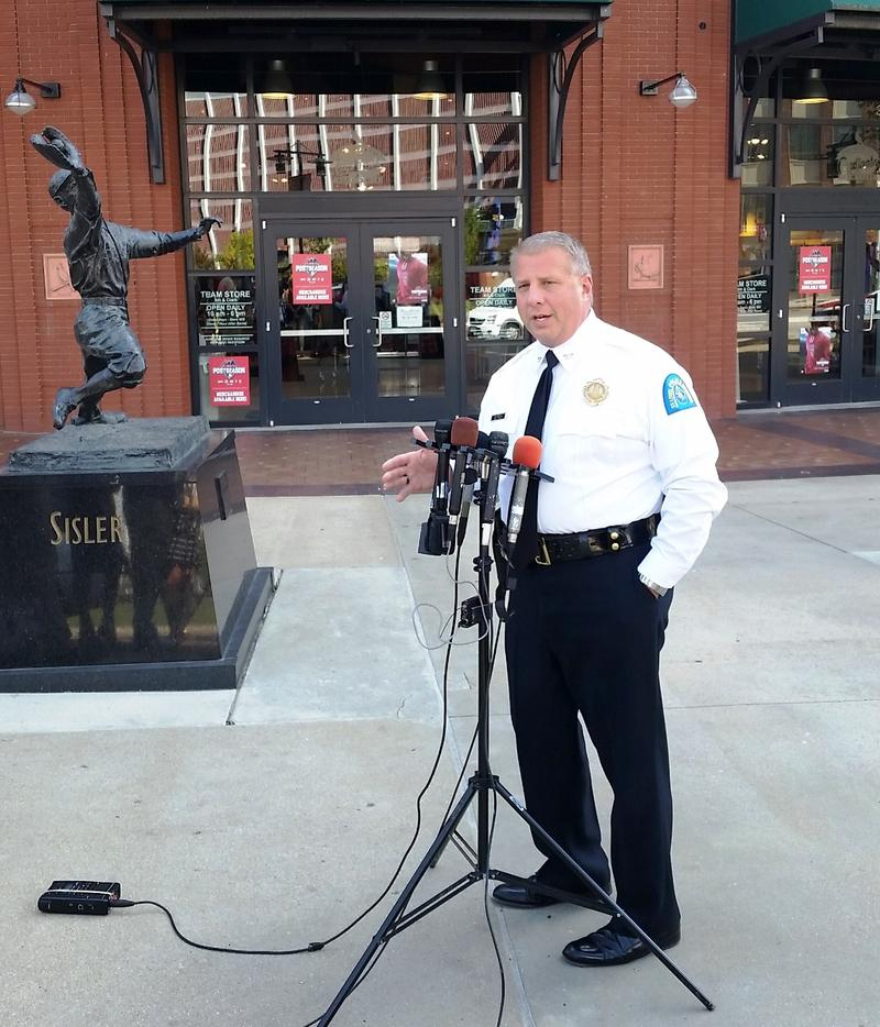 St. Louis Metropolitan Police chief Sam Dotson briefs reporters on his department's plans for the 2015 Major League Baseball playoffs on October 8, 2015.