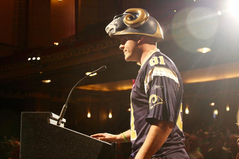 A Rams fan speaks to NFL executives during a public meeting on Tuesday at the Peabody Oprea House.