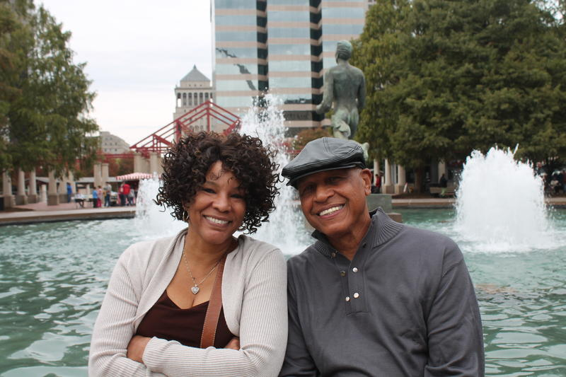 Brenda and L.B. Brooks of Memphis ascended the Arch and came to its anniversary festival during a weekend trip.