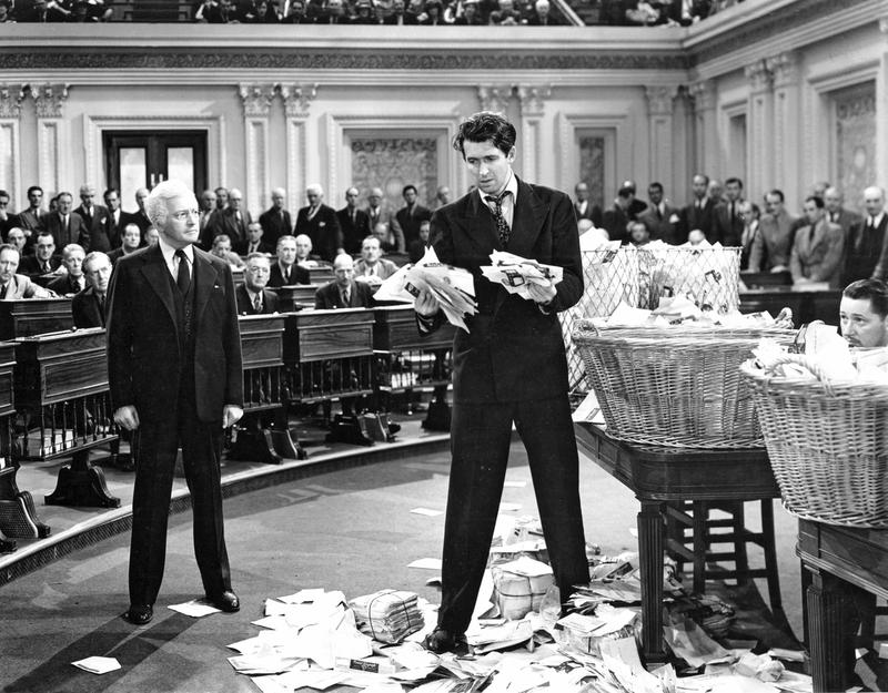 "In ""Mr. Smith Goes to Washington,"" Jimmy Stewart, right, portrays a senator who tries to use the filibuster for good. Now the threat of a filibuster is enough to stop votes."