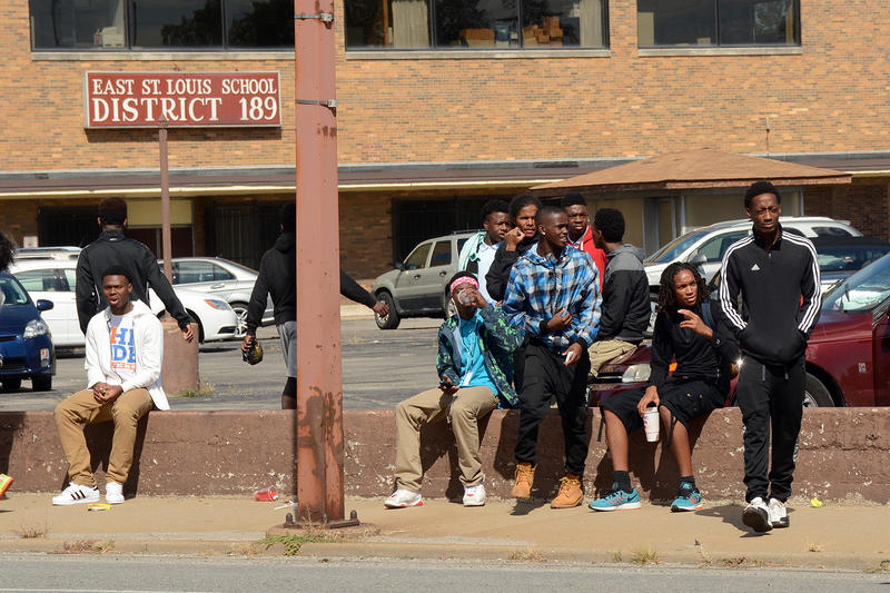 With class canceled due to a teacher strike, East St. Louis students spend school hours outside district offices Thurs. Oct. 1, 2015.