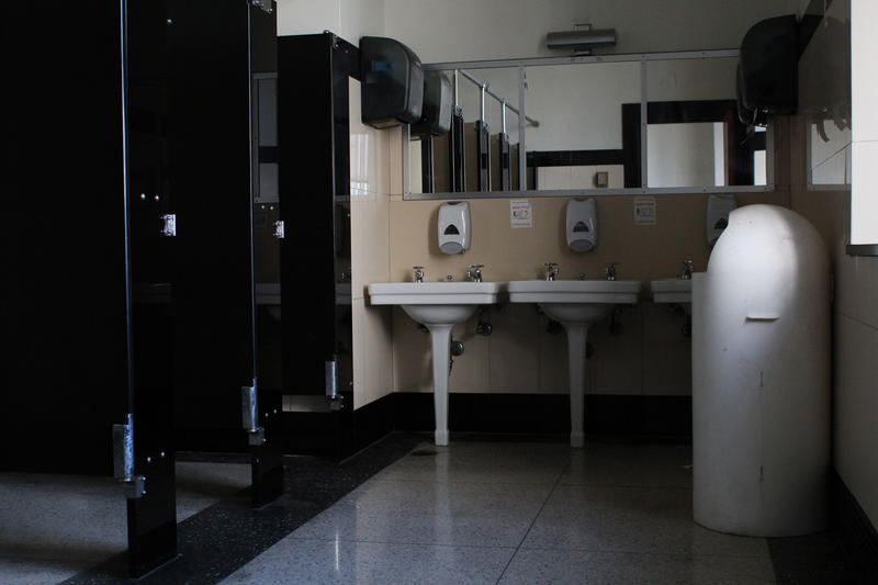 The bathrooms in Soldiers Memorial retain their original fixtures from the late 1930s.