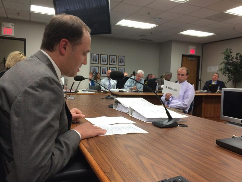 Educator Brian Schultz of Independence testified about social studies standards before the state board of education.