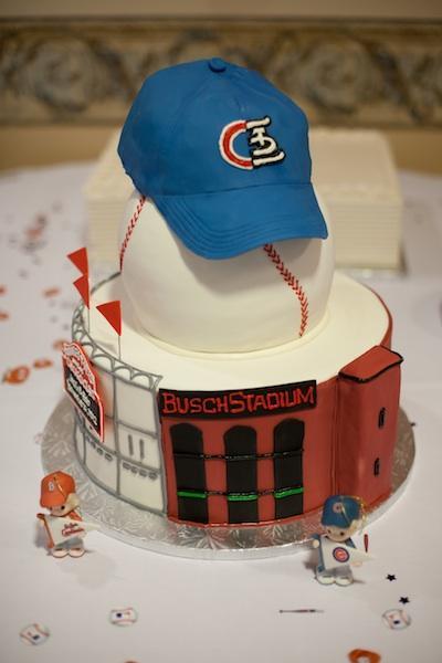 The McNett's wedding cake was half Busch Stadium, half Wrigley Field.