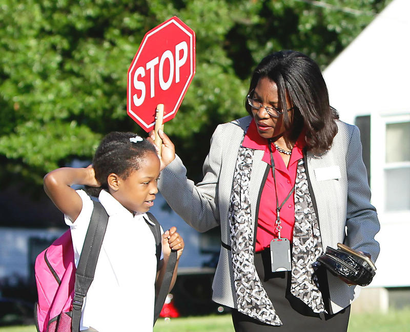 Jennings Superintendent Tiffany Anderson takes her turn as a crossing guard.