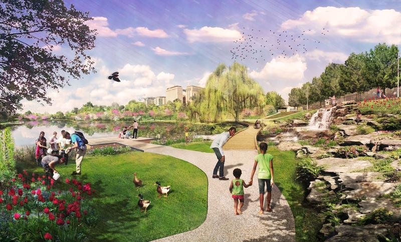 Renderings of design around Jefferson Lake in Forest Park