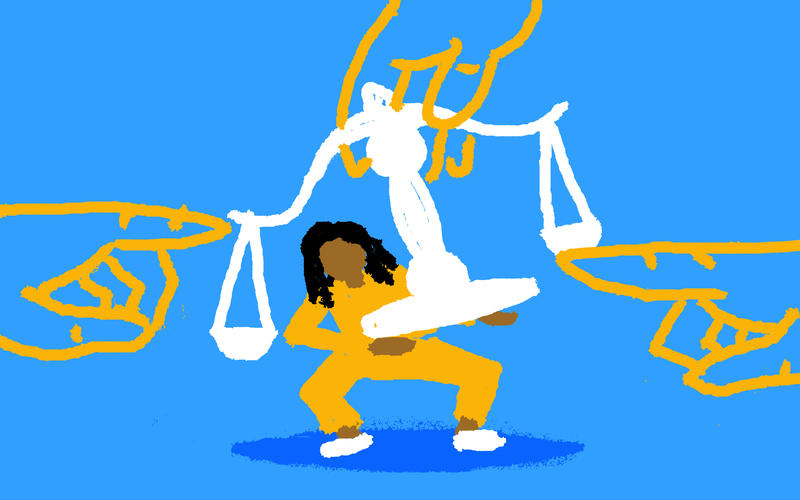 Drawing of child and scales of justice
