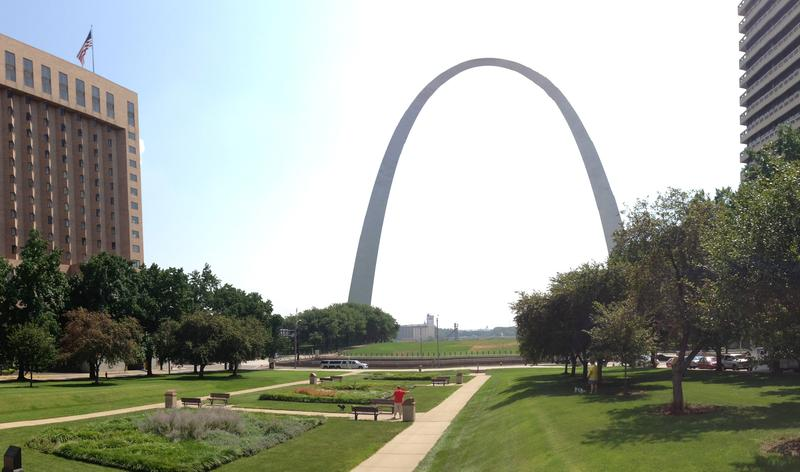 The city is preparing to celebrate the 50th anniversary of the final construction of the Gateway Arch, shown here from Luther Ely Smith Square in downtown.