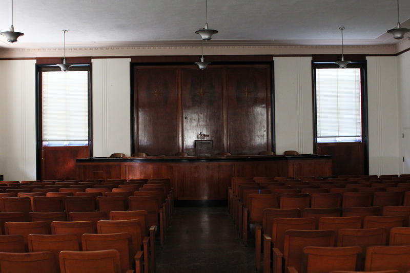 An upstairs formal meeting room resembles a court room at Soldiers Memorial