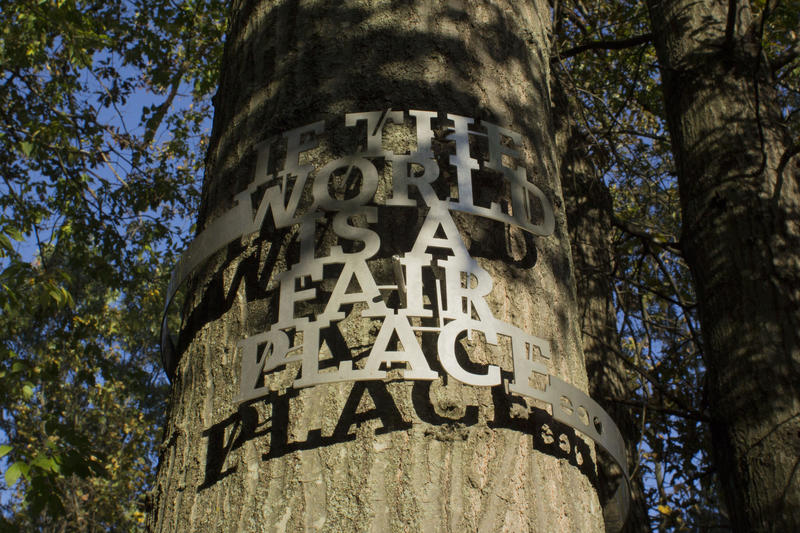 Detail of 'If a World is a Fair Place Then...' artwork Raqs Media Collective