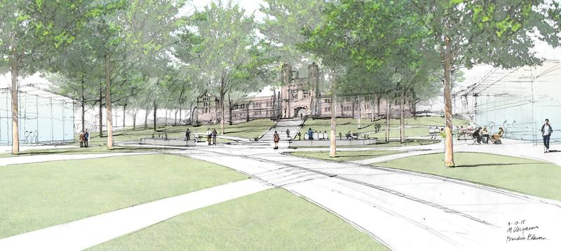 Parking lots disappear in renderings of the new east entrance of Washington University.