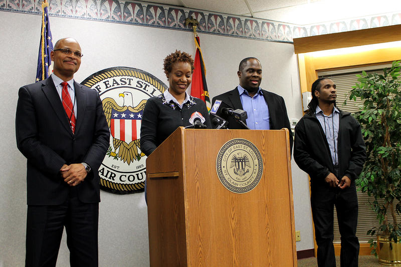 City Manager Alvin Parks, Jr. (left), Mayor Emeka Jackson-Hicks, financial consultant Dawayne Stewart and budget director Egzabia Bennett speaks to reporters Friday, Nov. 20, 2015 in East St. Louis.