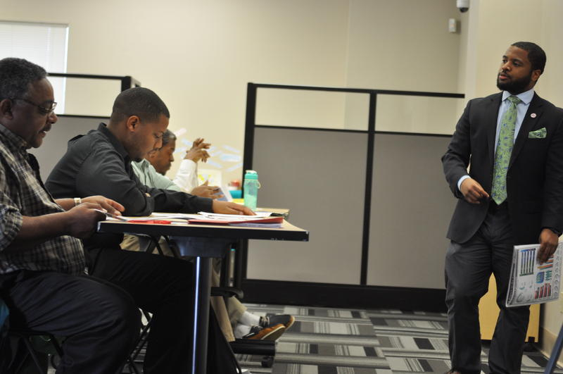 Workforce development specialist Darryl Jones teaches a class for the Save Our Sons program in north St. Louis County.