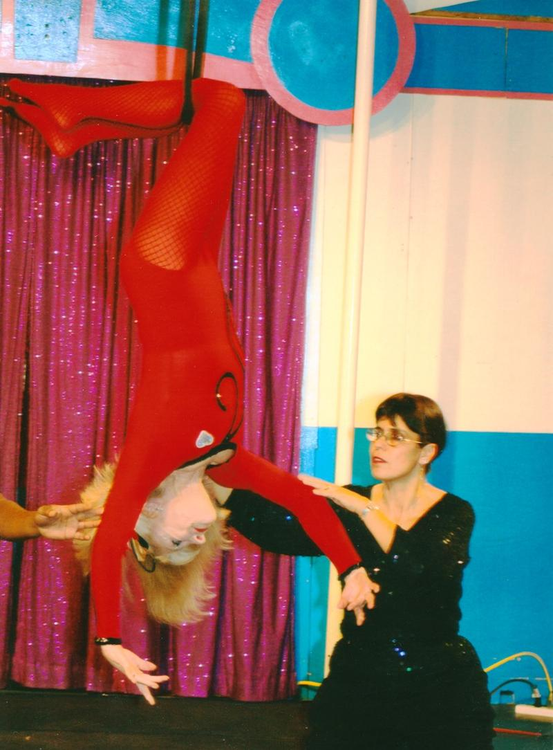 Elizabeth Herring at her 80th birthday party with Circus Harmony founder Jessica Hentoff