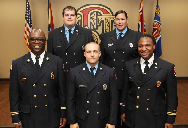Clockwise from top left - FF. Jeff Weffelmeyer, FF. Jessica Jackson, Capt. Garon Mosby, FF. Chris Tobin and Capt. Larry Conley.