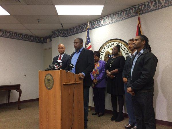 East St. Louis officials gather for a press conference in the mayor's office Nov. 20, 2015.