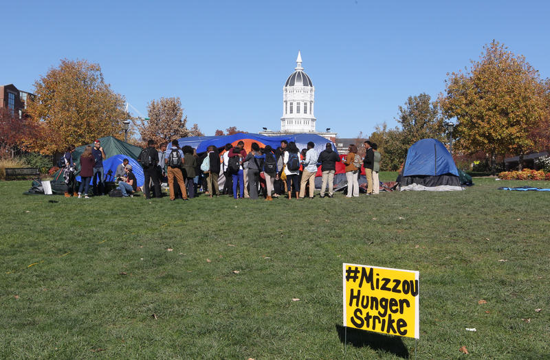 Students gather on the University of Missouri campus to show support for Jonathan L. Butler, the 25-year-old graduate student who is holding a hunger strike on campus in Columbia, Missouri on November 7, 2015.