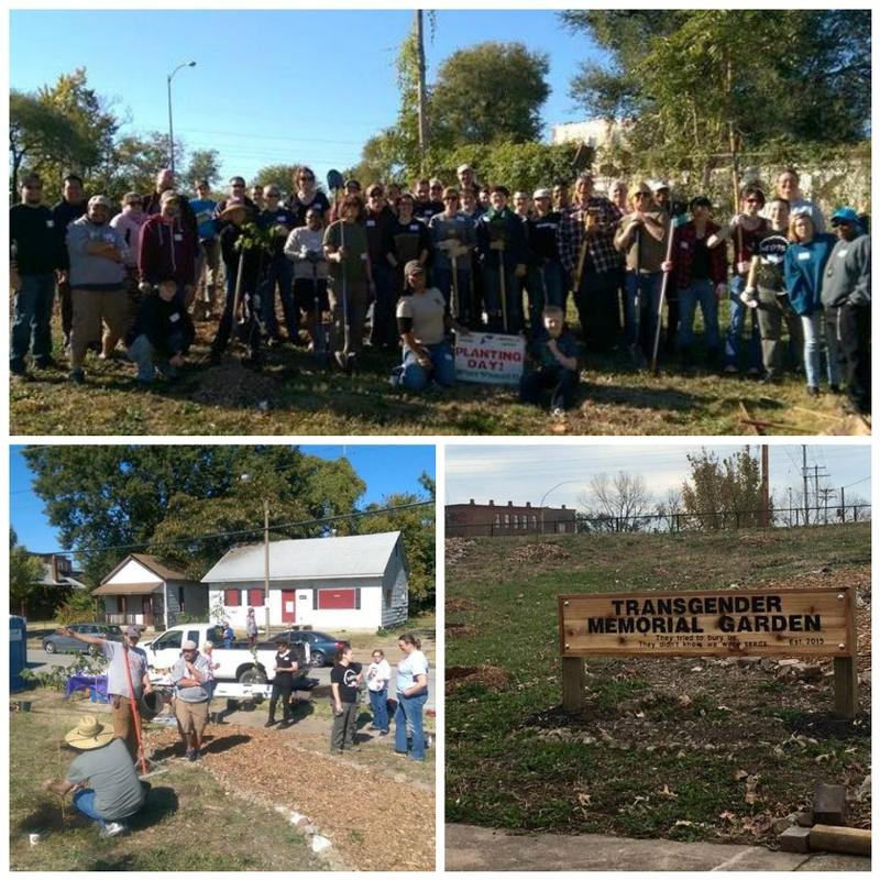 "Dozens brought shovels and rakes to an Oct. 18 tree-planting event. The sign reads, ""They tried to bury us. They didn't know we were seeds."""