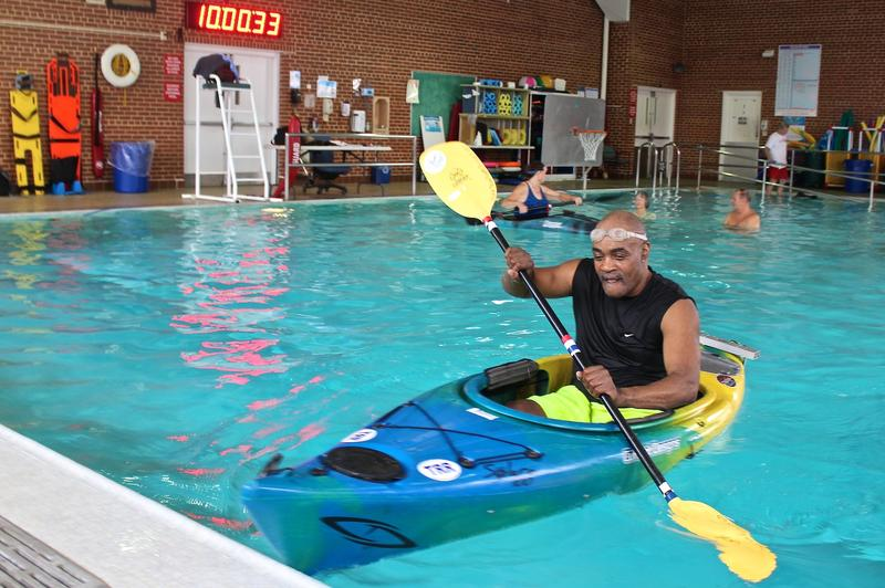Army veteran Horace Montgomery practices in the pool at the Jefferson Barracks VA Medical Center. He says kayaking has been motivating as he recovers from open-heart surgery and a hip replacement.