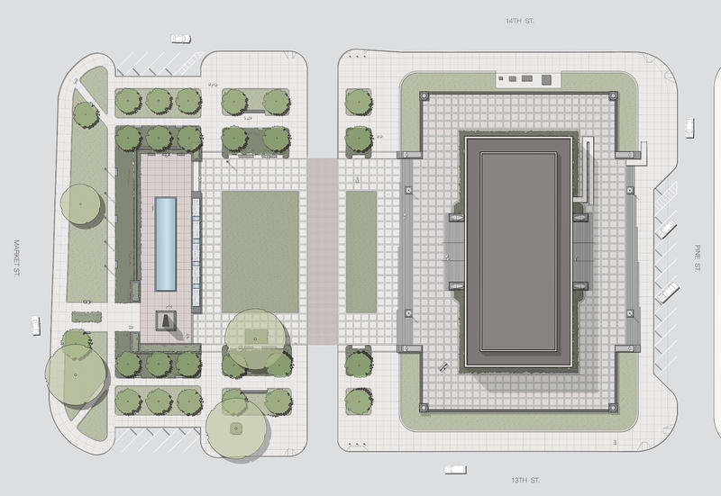Aerial Rendering of Proposed Rennovations for Memorial and Court of Honor