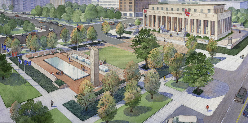 Complete Rendering of Proposed Rennovations for Memorial and Court of Honor