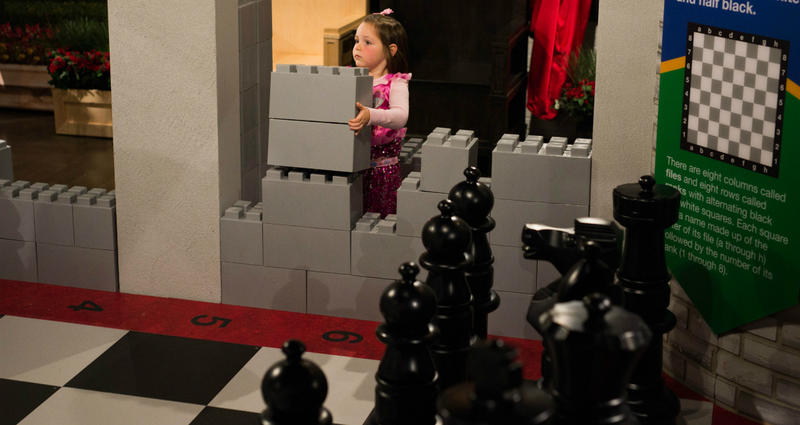 Children can build the castle, as well as learn about chess.