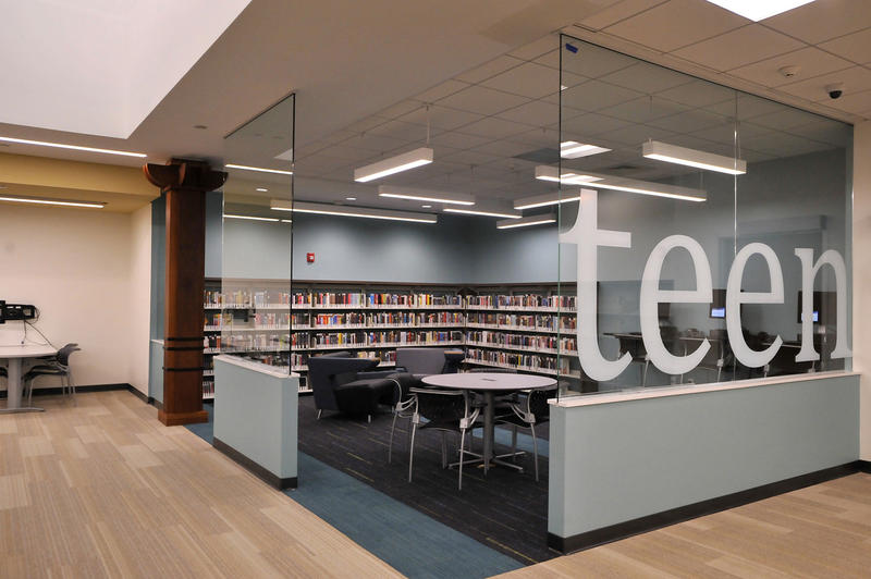 The teen area of the newly renovated Indian Trails library branch, which is reopening on Monday, Nov. 23, 2015.