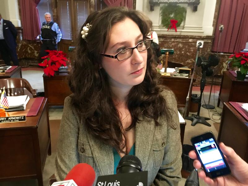 Alderman Megan Green speaks to reporters after Friday's Board of Aldermen meeting. The 15th Ward Democrat alleged that
