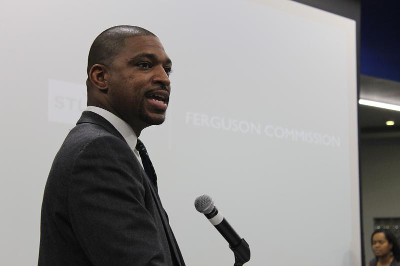 Rev. Starsky Wilson speaks at the final meeting of the Ferguson Commission.