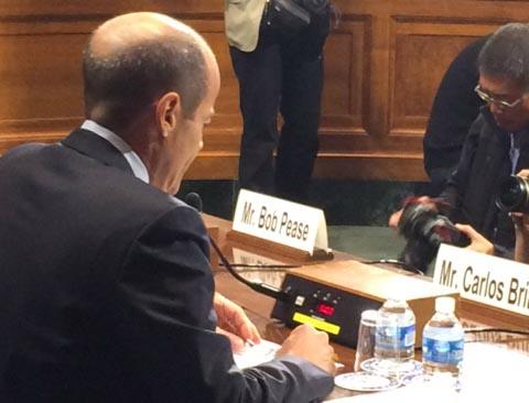 A-B InBev CEO Carlos Brito testifies before a Senate committee Tuesday morning.