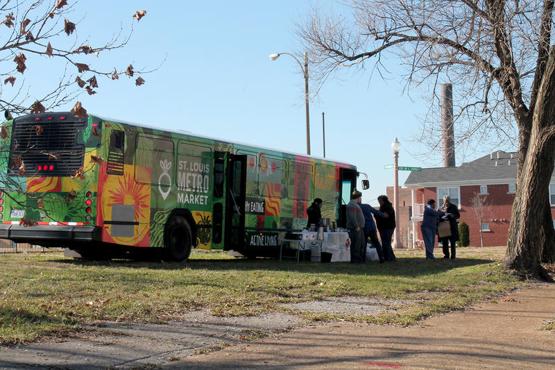 The mobile farmers market parked in an empty lot in the JeffVanderLou neighborhood Sat. Dec. 19, 2015 near the intersection of MLK Dr. and Grand Blvd.