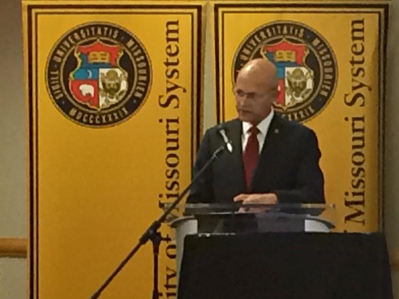 Interim President Mike Middleton addresses the University of Missouri Board of Curators