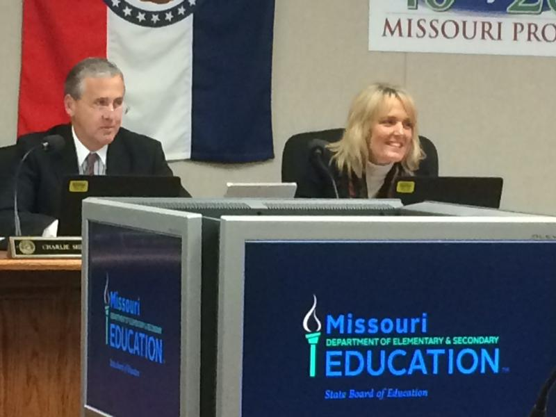 State board President Charlie Shields and education Commissioner Margie Vandeven listen to Tuesday's discussion
