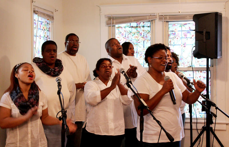 The choir of United Believers in Christ Ministries opened the first service at the church's new building on Sunday with several worship songs.