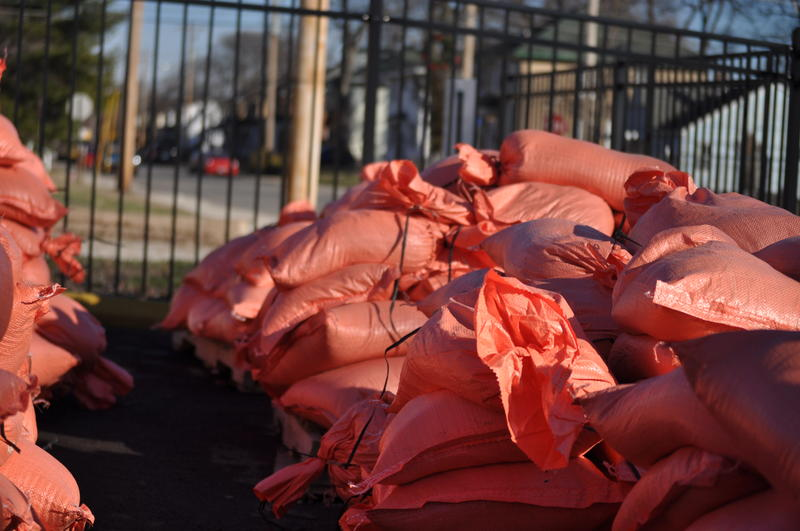 Pallets full of sandbags that stayed dry during the floods sit in the parking lot of City Hall in Valley Park in January 2016.