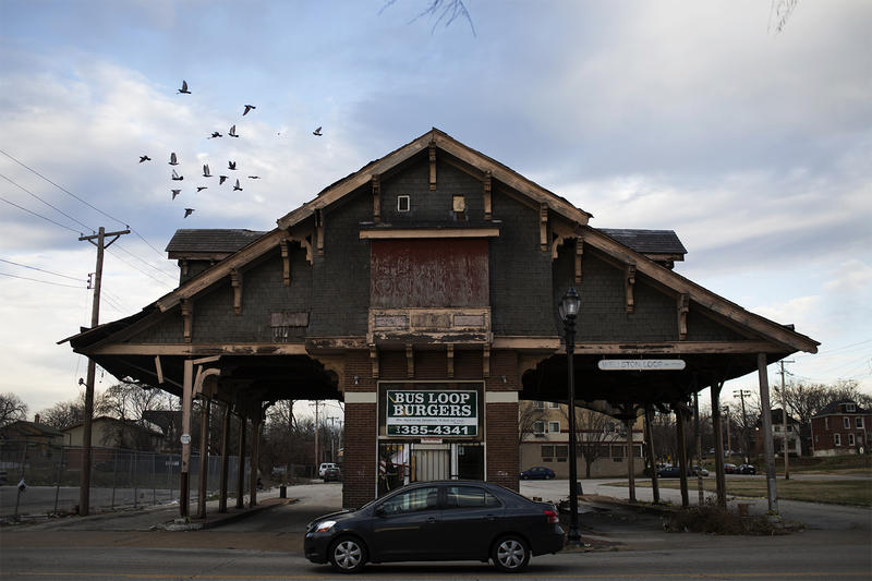 The Wellston Loop structure, most recently a burger joint, is where city trolleys would turn around to head back east toward downtown St. Louis.