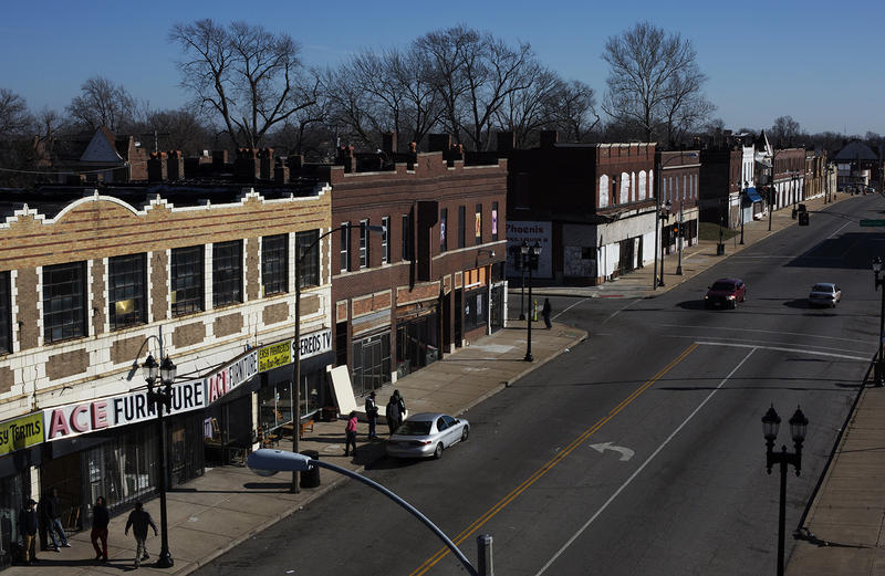 A stretch of Martin Luther King Drive that houses two furniture-and-appliance stores is seen from atop the old J.C. Penney building between Hamilton and Hodiamont avenues.