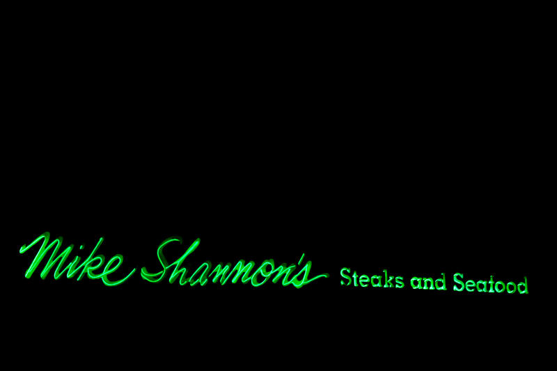 The neon sign of Mike Shannon's.