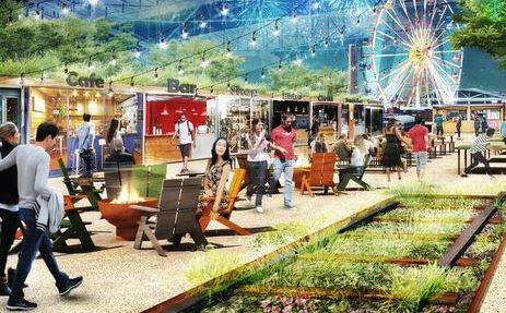 A rendering of the planned food stands in railroad cars and 200-foot-high Ferris wheel at Union Station.