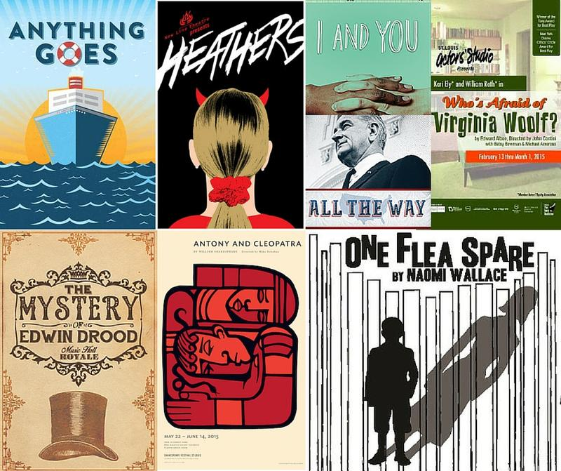 A selection of posters from the nominees for a 2015 St. Louis Theater Circle Award.
