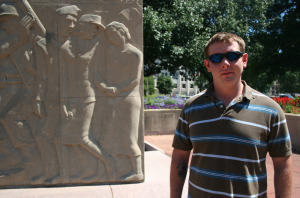 Casey McCausland sees his work on the Soldiers Memorial as a way of giving back.