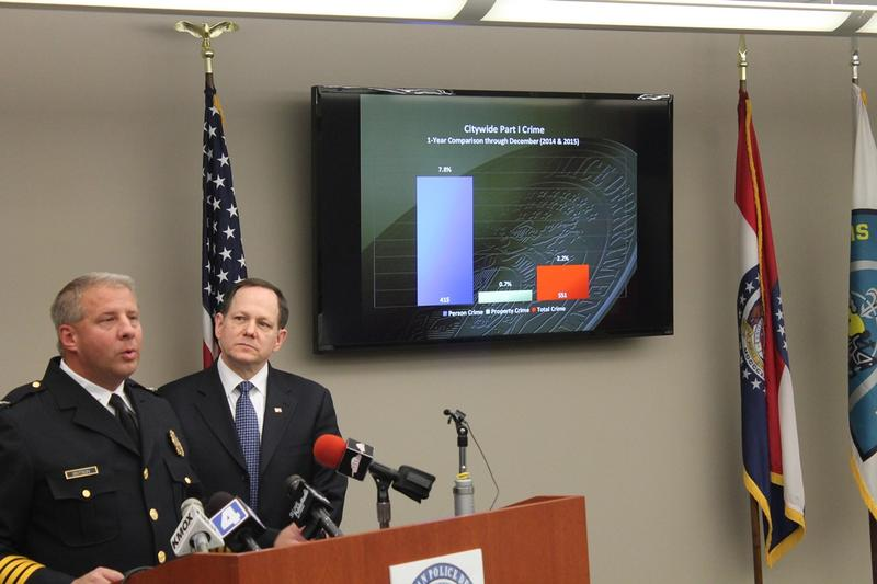 St. Louis Metropolitan Police chief Sam Dotson and Mayor Francis Slay discuss the 2015 crime numbers on Monday, Jan 11, 2016.
