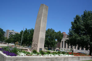 The plants around the World War II statue reflect the colors of the flag. Soldiers memorial
