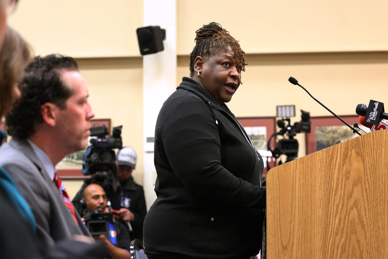 Mildred Clines, who has lived in Ferguson for 28 years, speaks during Tuesday night's public hearing at the Ferguson city council chamber on Feb. 2, 2016.