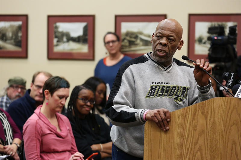 Adrian Shropshire, who has lived in Ferguson for 26 years, speaks during Tuesday night's public hearing.