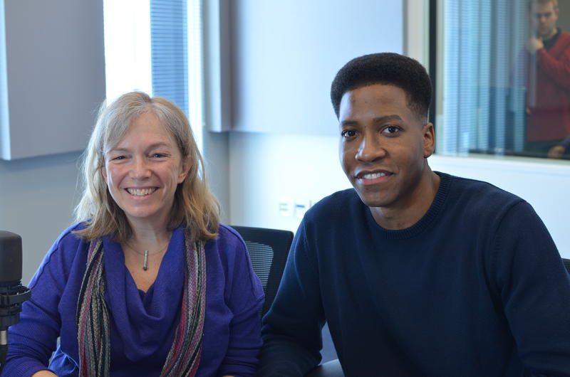 "Julia Flood, the artistic director of Metro Theater Company, and Trigney Morgan, who plays Cassius Clay in ""And In This Corner…Cassius Clay."""