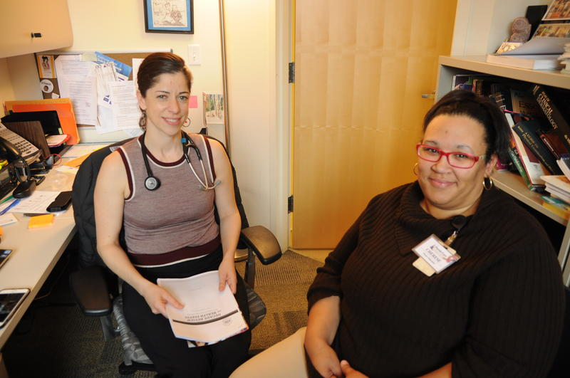 Dr. Heidi Miller, (left) and breast health navigator Cherese Agard work at Family Care Health Center in the Forest Park Southeast neighborhood of St. Louis.